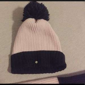 kate spade Accessories - Kate Spade pink and black beanie and scarf set